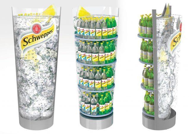 Рекламные напольные стойки Schweppes, эксклюзивные